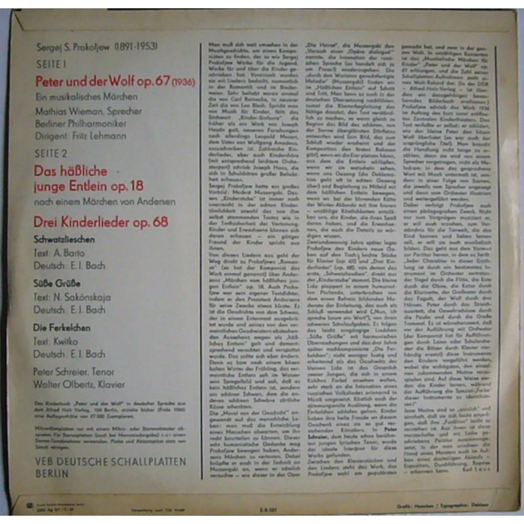 Fritz Lehmann, Walter Olbertz, Peter Schreier Prokofiev Peter & Wolf, Ugly Duckling, 3 Children's Songs DDR ETERNA 820 652 MINT