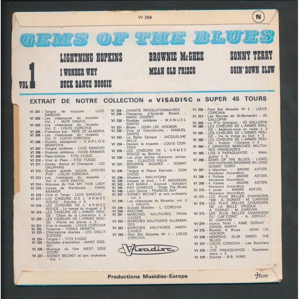LIGHTNING HOPKINS - BROWNIE MC GHEE - SONNY TERRY gems of the blues ( vol 1 )