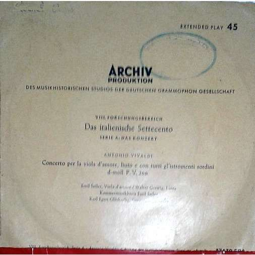 Antonio Vivaldi, Emil Seiler, Walter Gerwig, Karl Concerto Per La Viola D'Amore, Liuto E Con Tutti Gl'Istromenti Sordini D-moll P.V. 266