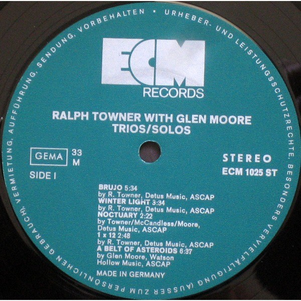 ralph towner with Glen Moore trios solos