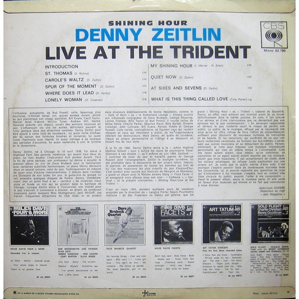 DENNY ZEITLIN SHINING HOURS LIVE AT THE TRIDENT