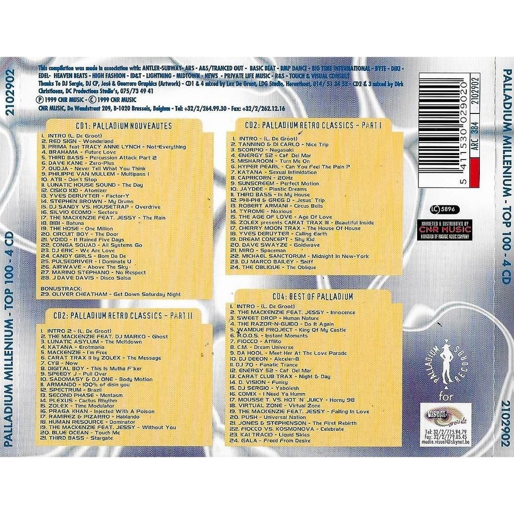 Palladium millenium - top 100 - 4 cd de Yves Deruyter, Marco Bailey ...