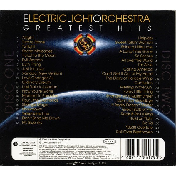 Greatest Hits By Electric Light Orchestra Cd X 2 With