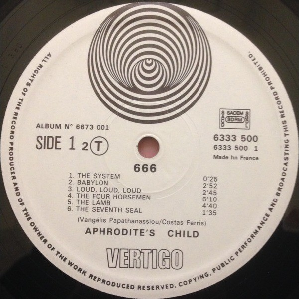 APHRODITE'S CHILD 666 (double French original LP - 1972 - Vertigo Swirl)