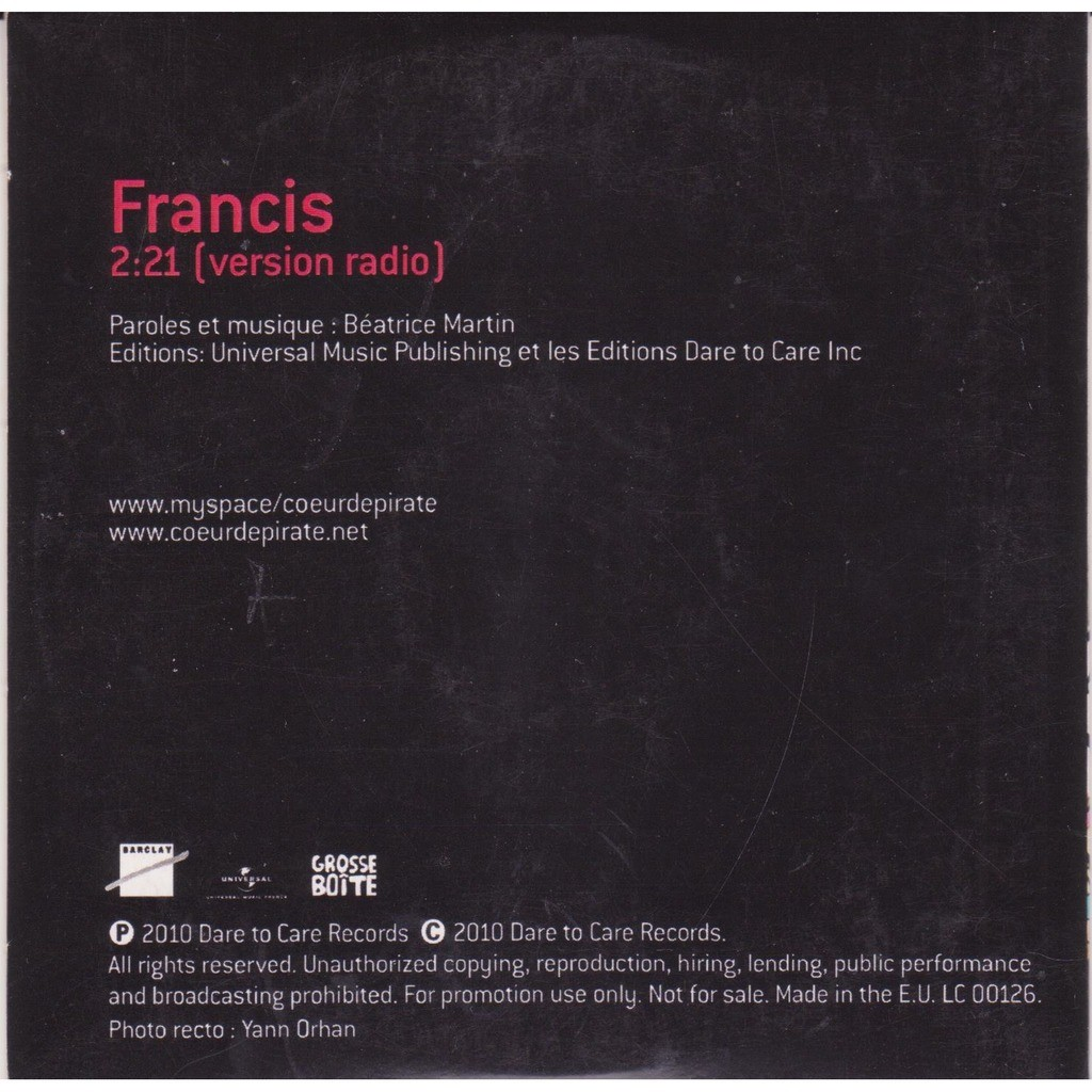 Francis Version Radio By Coeur De Pirate Cds With