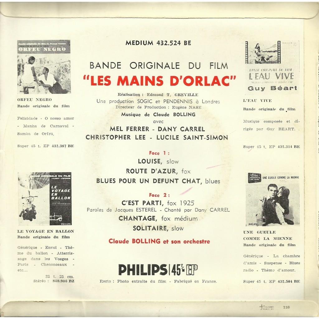 claude bolling - Dany Carrel Les mains d'Orlac