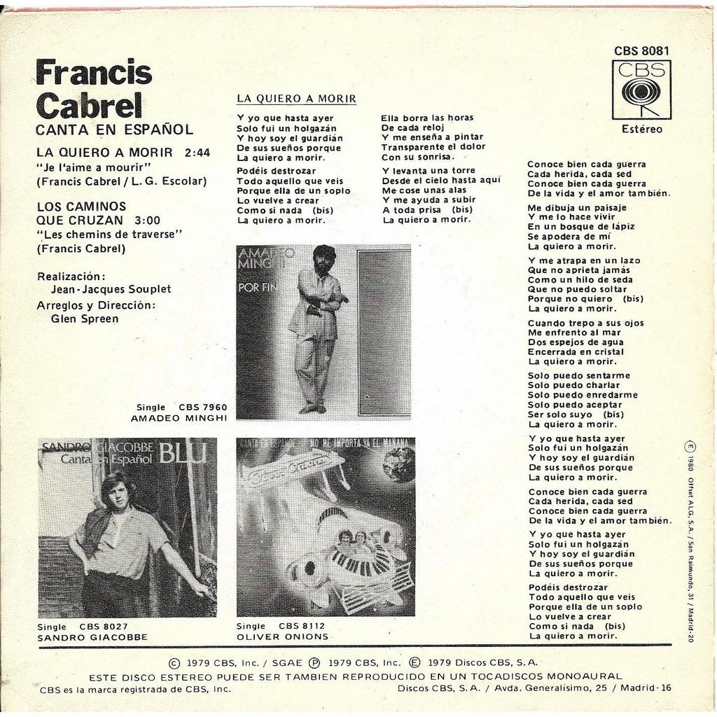 Cabrel Francis La quiero a morir
