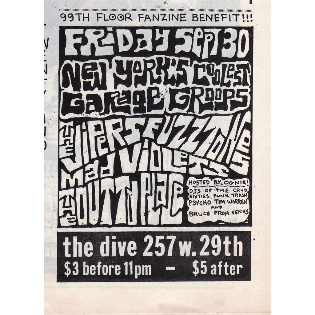 The Vipers / Fuzztones / Mad Violets / Outtoplace The Dive 257 W.29th 30.09.1984 (Canada 1984 promo type advert concert flyer!!)
