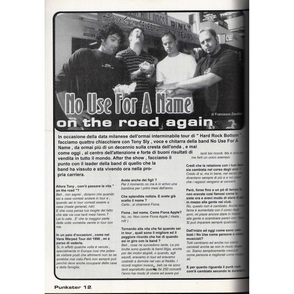 No Use For A Name Punkster (N.0 2003) (Italian 2003 punk magazine!!)