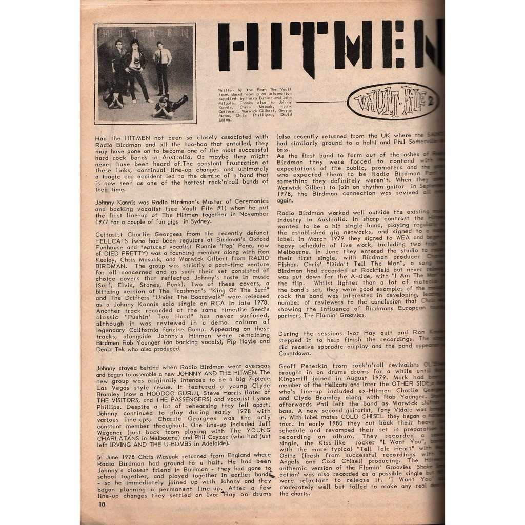 Hitmen Gonna Be Late! (Australian 1987 1-trk 1-sided promo 7single flexi complete with magazine!!)
