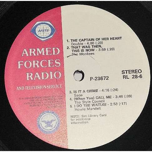 Sade Armed Forces Radio And TV Service P-23672 (USA 1986 'AFRTS' promo-only BROWN wax LP sampler!!)