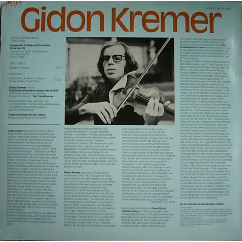 Tchaikovsky violin concerto op 35 temirkanov germany eurodisc 89 696 xak nm  by Gidon Kremer, LP with rarervnarodru
