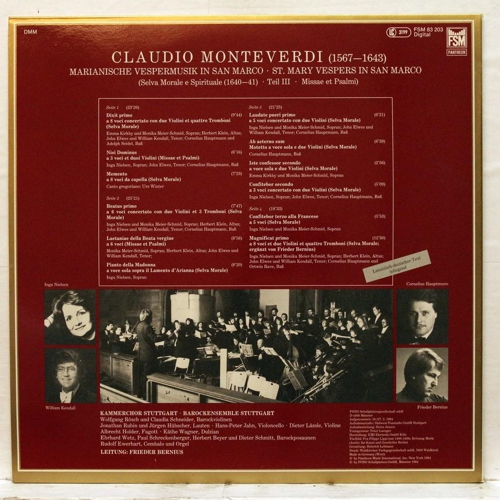 Monteverdi : st.mary vespers in san marco by Emma Kirby, Monika ...