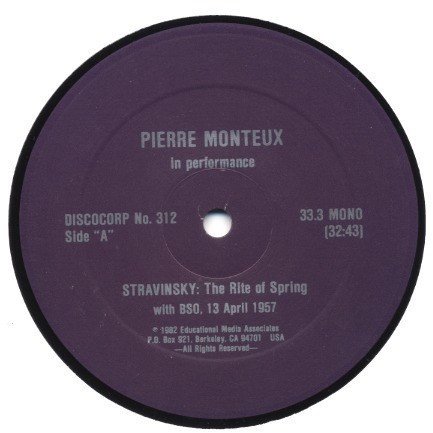 PIERRE MONTEUX conducts Igor Stravinsky Petrushka / Le Sacre Du Printemps (Rite of Spring) public performance 1957