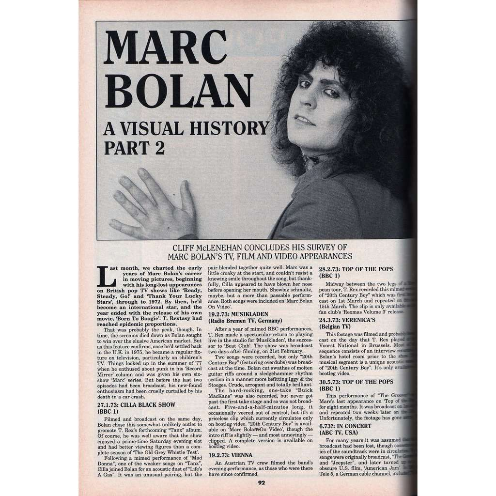 T.Rex / Marc Bolan Record Collector (N.191 July 1995) (UK 1995 collector magazine)