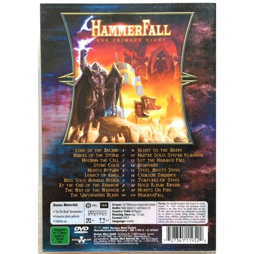 HAMMERFALL - ONE CRIMSON NIGHT (GER. PRESSING 1 DVD COMP. W/24 PAGES BOOK)