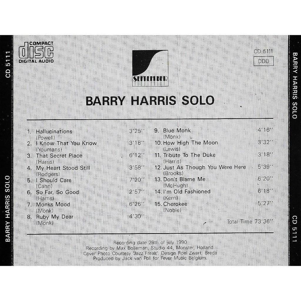 Barry Harris Solo