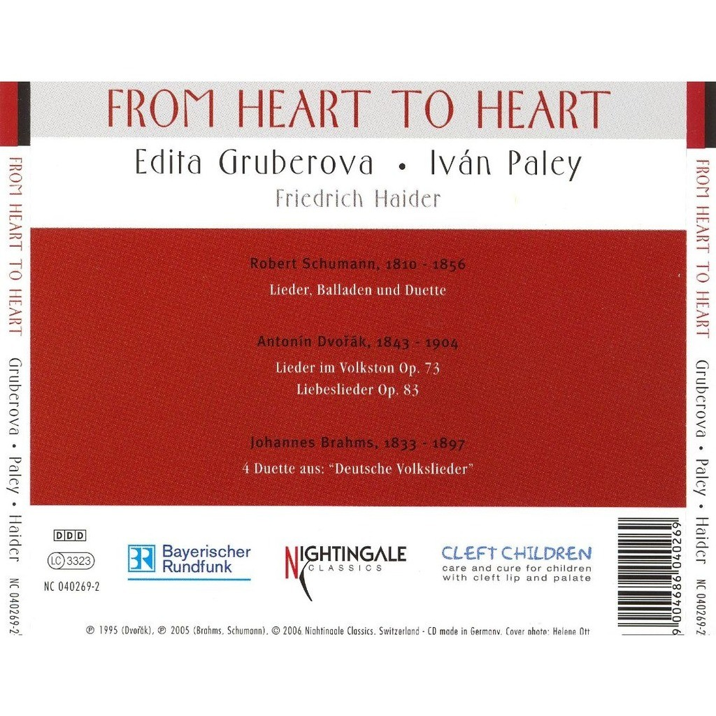 Schumann / Dvorák / Brahms From Heart To Heart / Edita Gruberova (Soprano), Iván Paley (Piano)