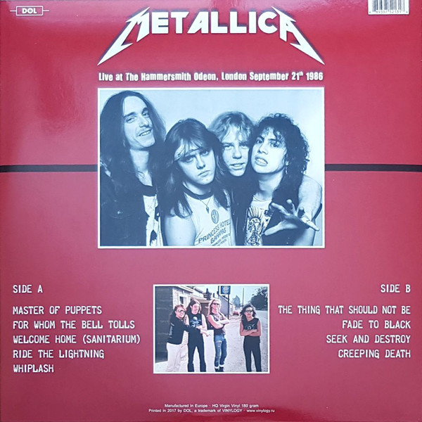 Metallica Live At Hammersmith Odeon, London. September 21th 1986 (lp)