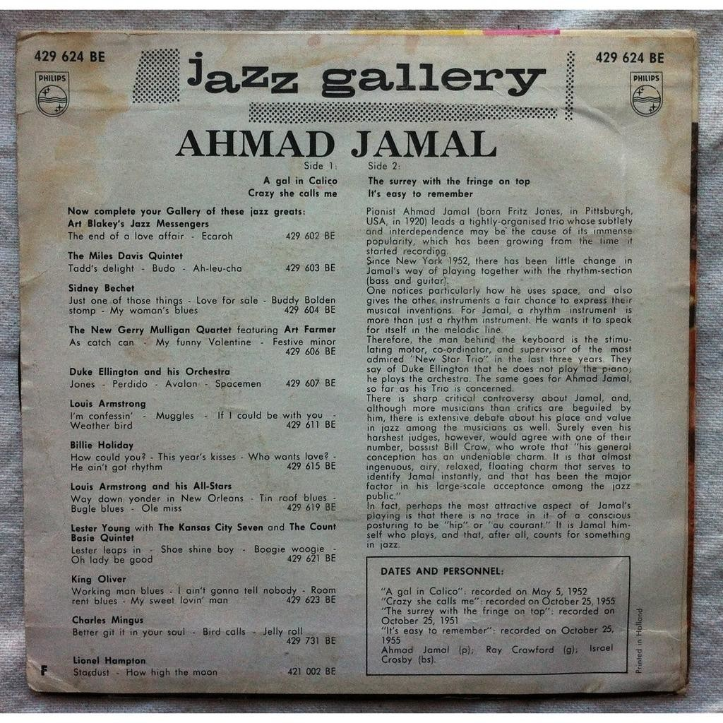 Jamal AHMAD A gal in Calico + 3 (original Nederland press - 1960s)