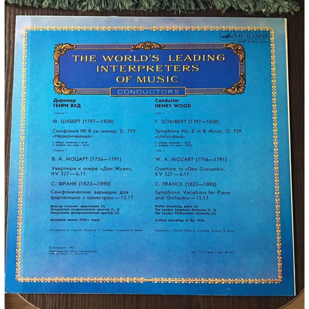 Henry Wood, Conductor Schubert Symphony No 8, D.759; Mozart Don Giovanni Overture; Franck Symphonic Variations MINT