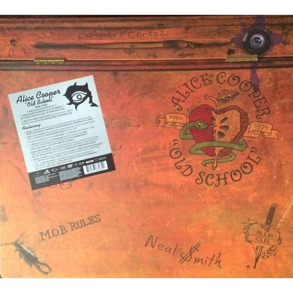 ALICE COOPER - OLD SCHOOL (VERY RARE U.S. 2011 LIM/ED. BOX # 2556 WHICH CONTAINS 12 VINYL LP, 7 SINGLE, 4 CD's, 1 DVD & INSE