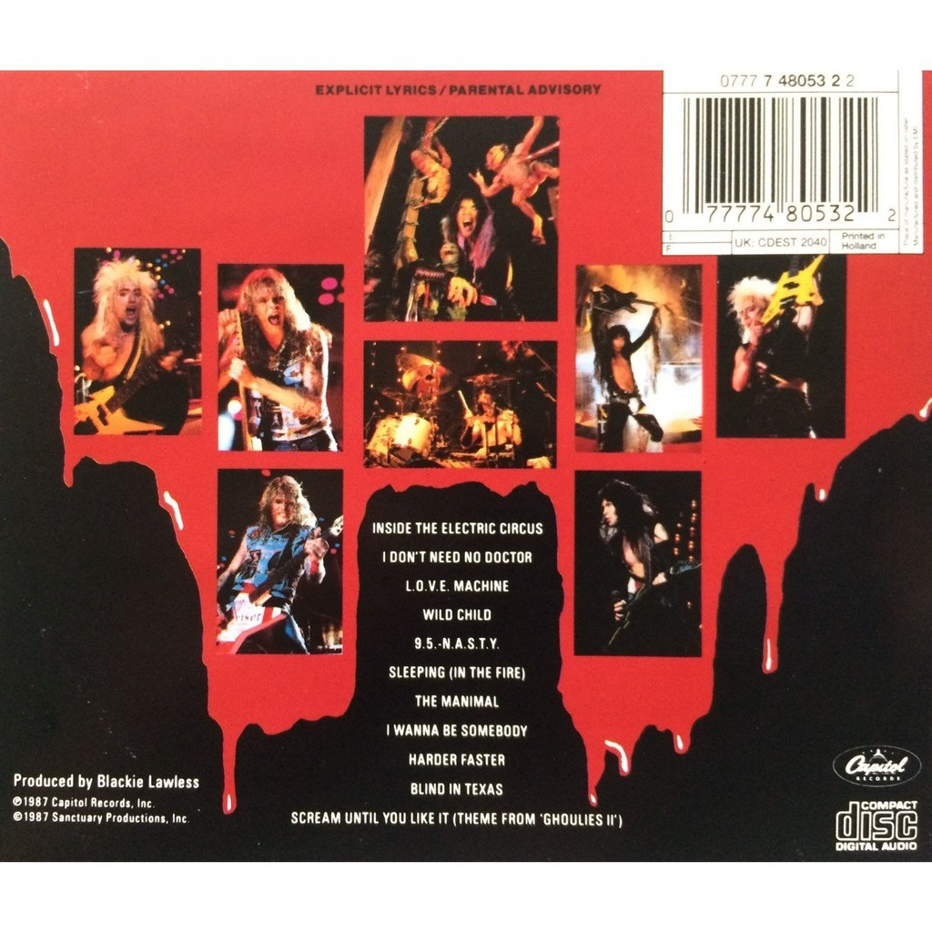 W.A.S.P. - LIVE ... IN THE RAW (DUTCH PRESSING 1 CD)