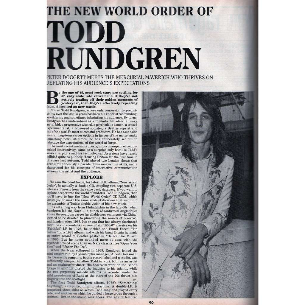 Todd Rundgren Record Collector (N.186 Feb. 1995) (UK 1995 collector magazine!)