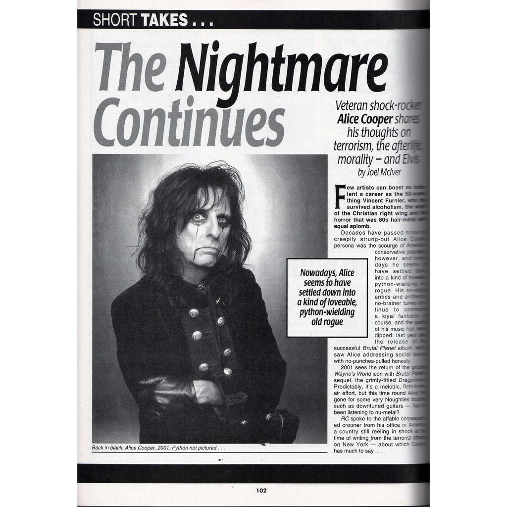 Alice Cooper Record Collector (N.267 Nov. 2001) (UK 2001 collector's magazine)