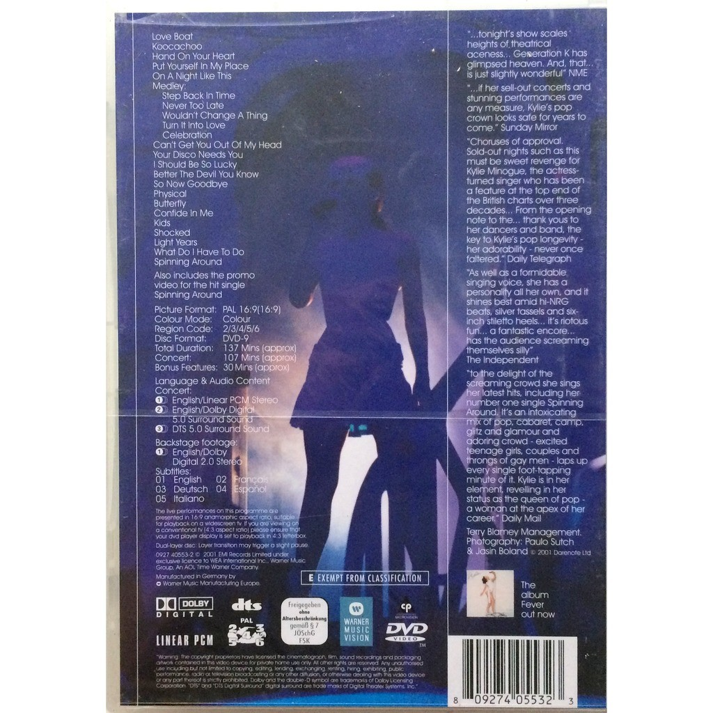 KYLIE MINOGUE - LIVE IN SYDNEY (SEALED GER. PRESSING 1 DVD)
