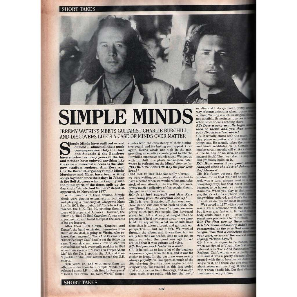 Simple Minds Record Collector (N.186 Feb. 1995) (UK 1995 collector magazine!)