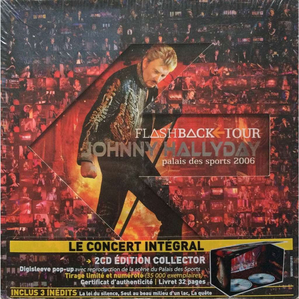 JOHNNY HALLYDAY - FLASHBACK TOUR PALAIS DES SPORTS (SEALED EURO PRESSING 2 CD's DIE-CUT CARDBOARD COVER LIM/ED. TO 35000 NUMB/COPIES)