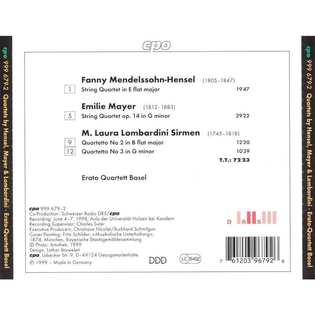String quartets de Mendelssohn-Hensel / Mayer / Lombardini-Sirmen, CD con  melomaan