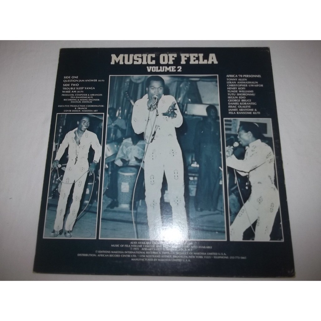 Question jam answer - music of fela volume 2 by Fela & The Africa 70, LP  with listenandhear