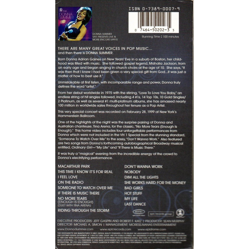 Donna summer live and more encore by Donna Summer, VHS with charlymax