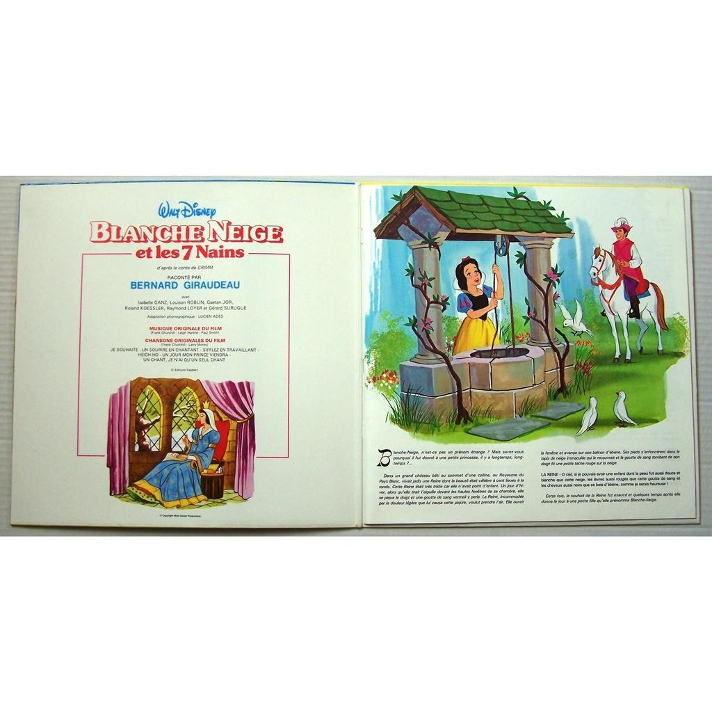 Lp Livre 16 Pages Disque De Walt Disney Blanche Neige Et Les Sept Nains By Blanche Neige Et Les Sept Nains Bernard Giraudeau Lp Book With
