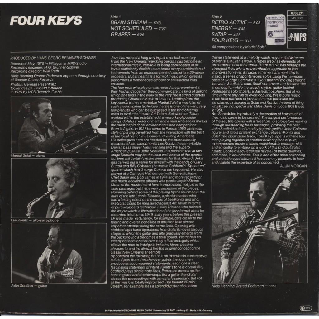 SOLAL, KONITZ, SCOFIELD, ORSTED-PEDERSEN Four Keys