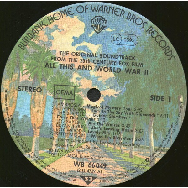 THE BEATLES / VARIOUS ARTISTS ALL THIS AND WORLD WAR TWO