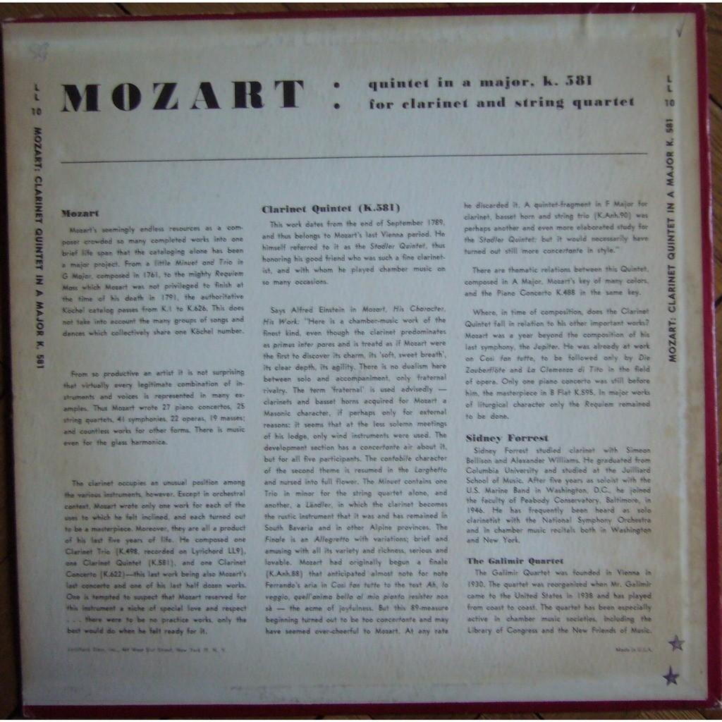 Mozart clarinet quintet kv 581 usa lyrichord ll 10 nm by Galimir Quartet,  Sidney Forrest, LP with rarervnarodru