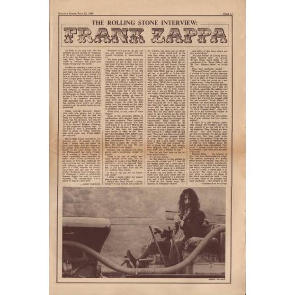 Frank ZAPPA Rolling Stone (20.07.1968) (USA 1968 Zappa front cover magazine)