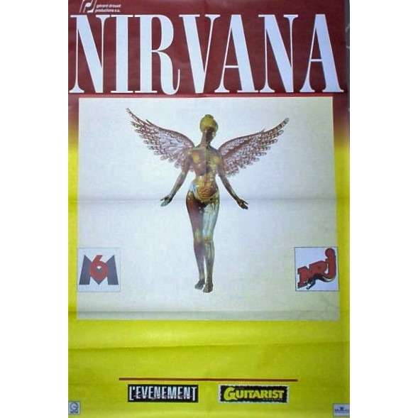 Nirvana In Utero French Tour 1994 Orifinal Large Format Concert Promo Poster