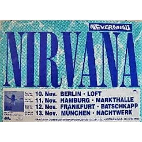 Nirvana NEVERMIND GERMAN TOUR 1991 ORIGINAL DATES PROMO CONCERT POSTER