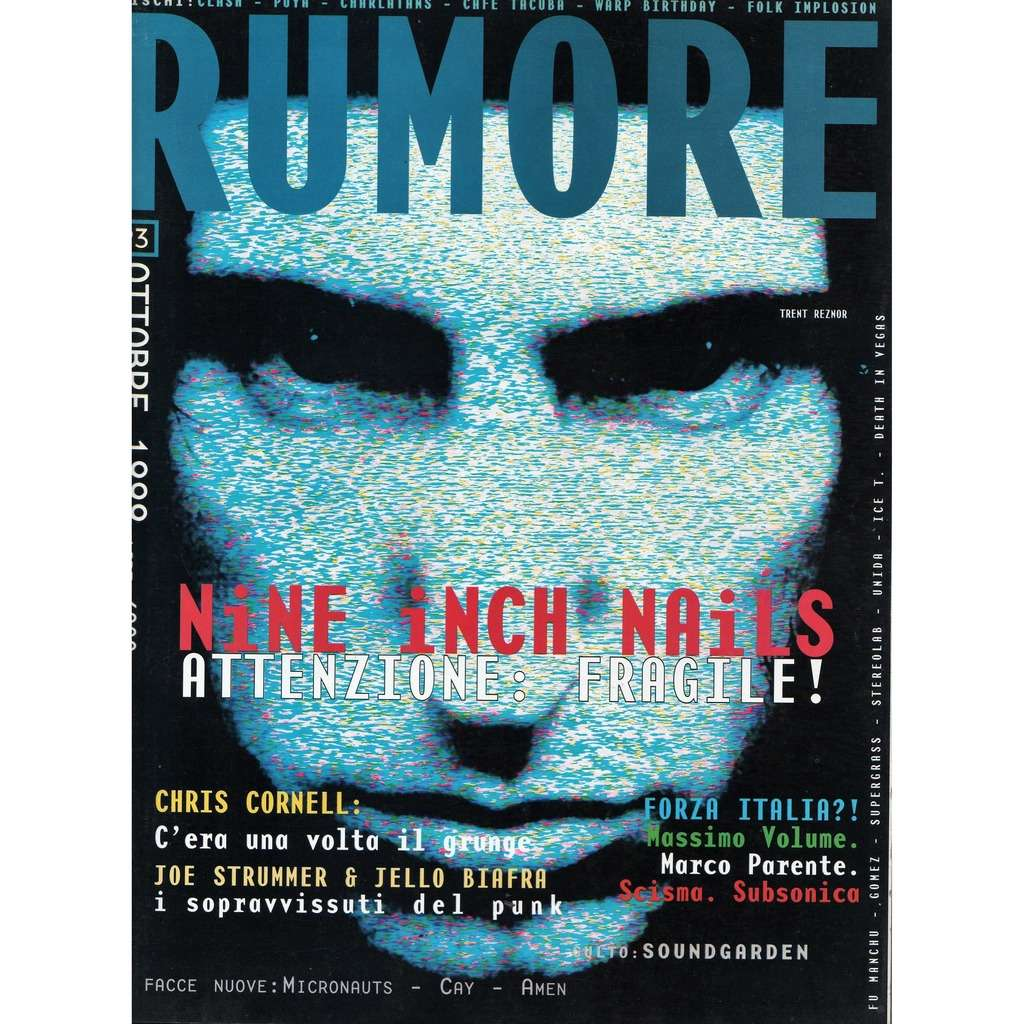 Nine Inch Nails Rumore (N.93 Oct. 1999) (Italian 1999 Nine Inch Nails front cover music magazine!!)