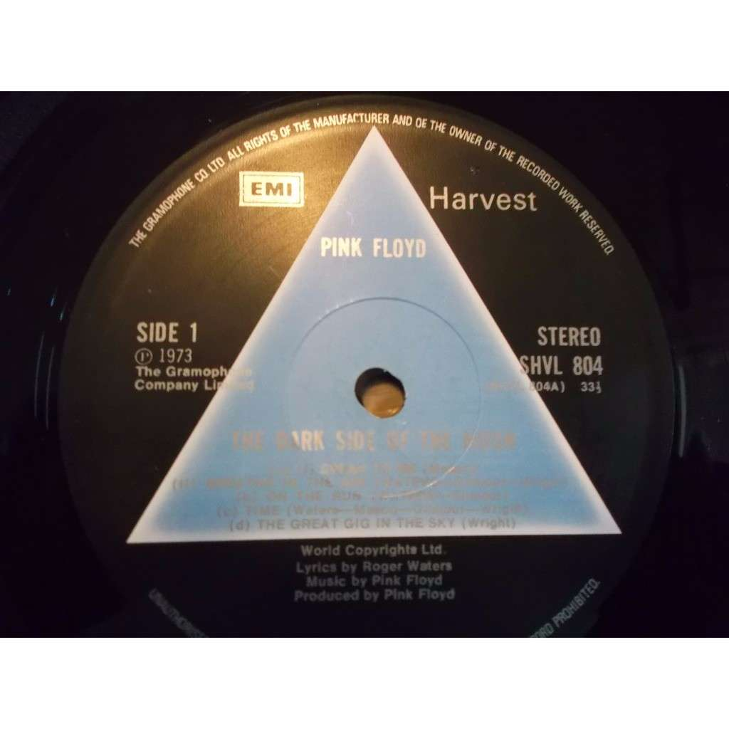 pink floyd SOLID BLUE TRIANGLE DARK SIDE OF THE MOON