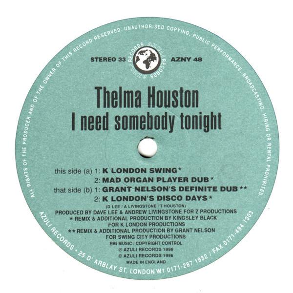 THELMA HOUSTON I Need Somebody Tonight