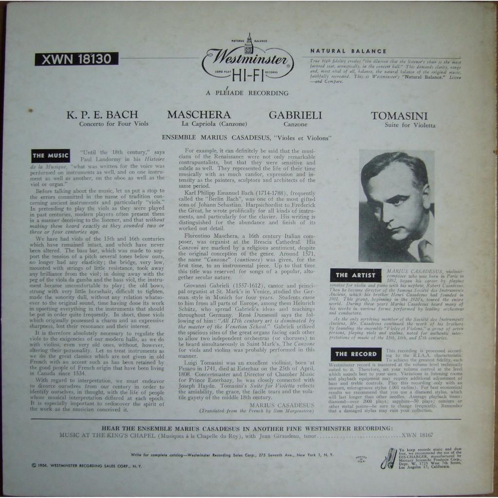 ENSEMBLE MARIUS CASADESUS K.P.E.Bach Maschera Gabrieli Tomasini USA WESTMINSTER XWN 18130 MINT-