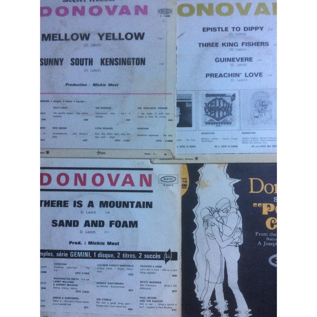 Donovan 4 Disques 45 T De Donovan (Epistle To Dippy /Mellow Yellow /There Is A Mountain / Poor Cow)