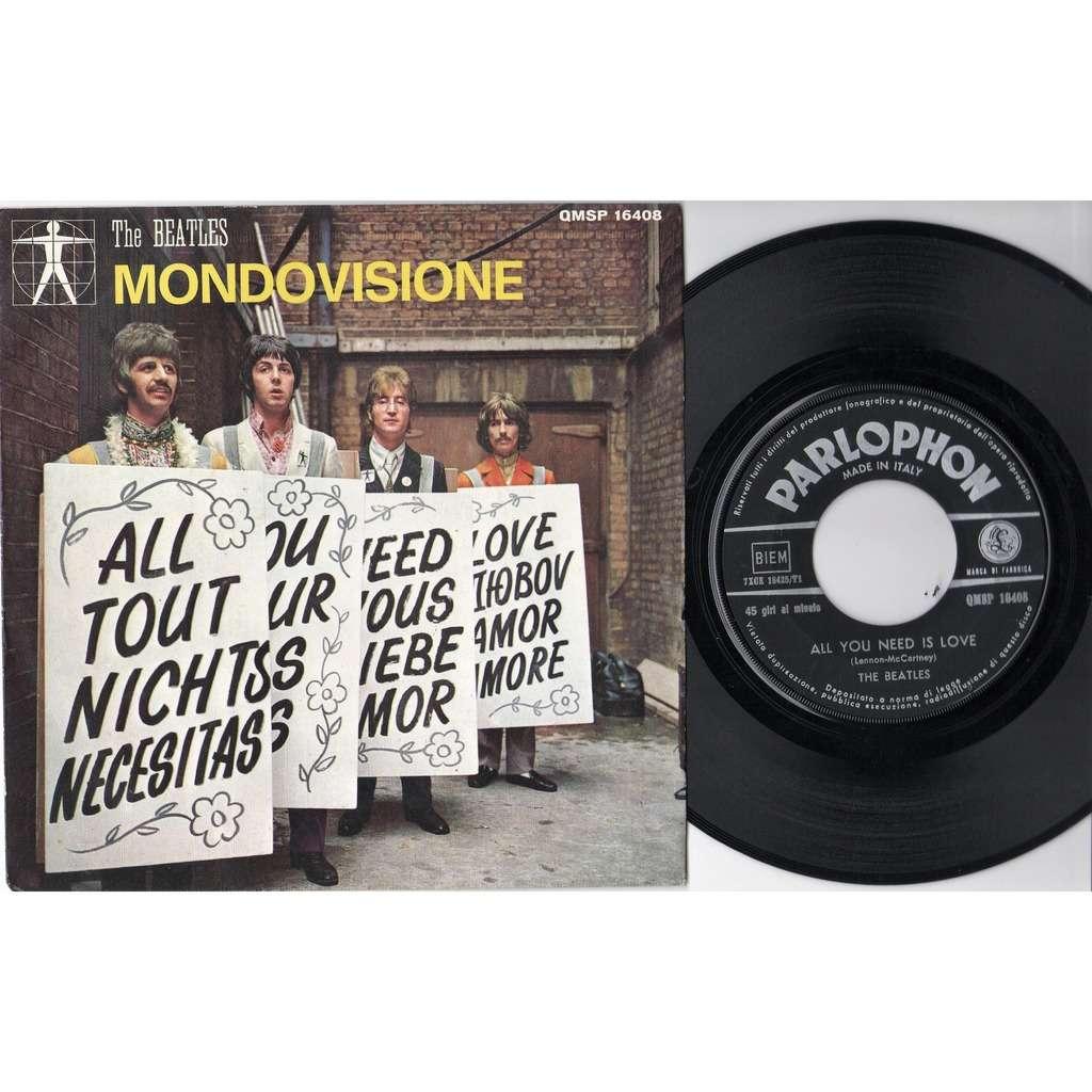 Beatles All you need is love (Italian 1967 original 2-trk 7single on black Parlophone lbl unique ps)