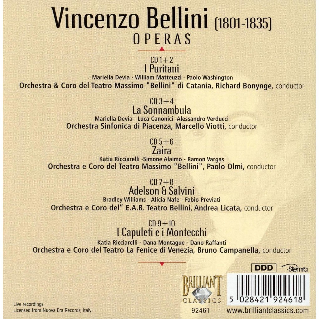 Bellini, Vincenzo 5 Operas: I Puritani, La Sonnambula, Zaira, Adelson & Salvini, I Capuleti e i Montecchi
