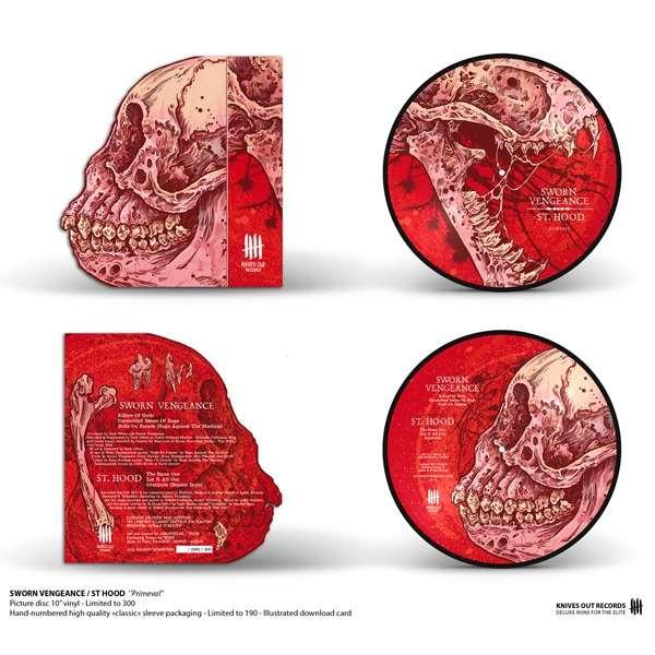 KNIVES OUT RECORDS : SWORN VENGEANCE / ST HOOD primeval - 25 cm